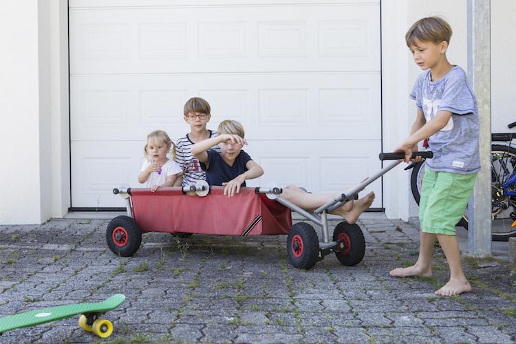 Drei sitzen, einer zieht: das Viererteam der Familie Jacobs.