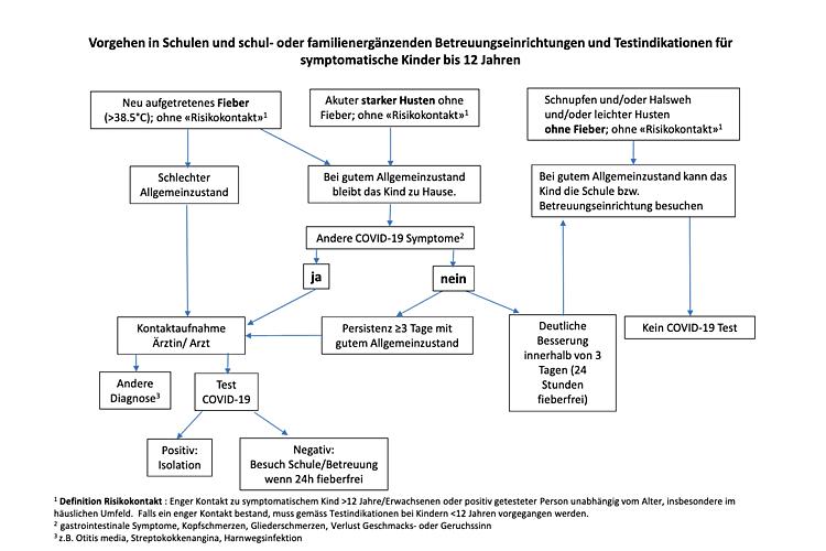 Algorithmus symptomatische Kinder von Pädiatrie Schweiz zusammen mit dem BAG. Das PDF kann hier heruntergeladen und ausgedruckt werden.