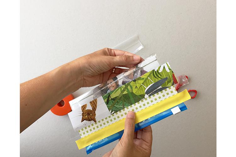 Schritt 6: Den Beutel unten mit transparentem Klebeband verschliessen.