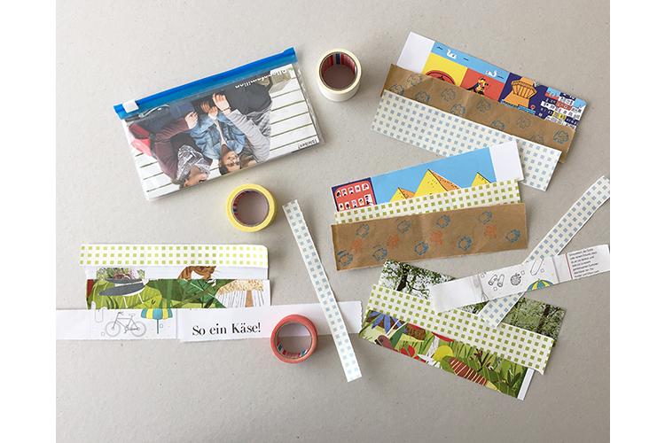 Schritt 3: Um das Etui zu dekorieren, braucht es für jede Seite drei Streifen. Einfach ausprobieren, welche Kombination gefällt. Man kann die Streifen auch zerschneiden und spannende Motive nebeneinander kleben.