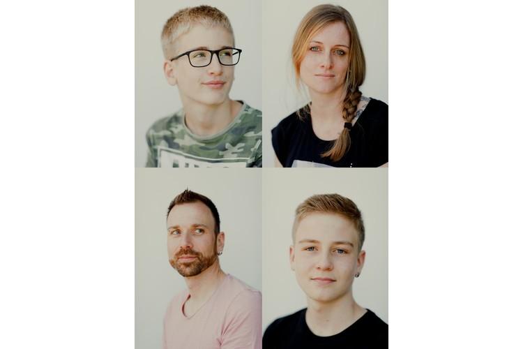 Familie mit Blick fürs Positive: Leo und Mutter Martina (oben), Vater Martin und Timo Gerber. Lesen Sie ihre Erzählung: «Gemeinsam lachen hilft über vieles hinweg»