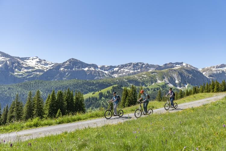 Jugendliche ab 12 Jahren können mit dem Trottibike zurück ins Tal flitzen.
