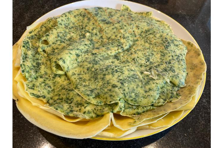 Spinat-Omelette«Auch dieses Menü bietet Suchtpotenzial für die ganze Familie. Und für die notorischen Gemüseverweigerer arbeite ich am Schluss einfach zwei grosse Löffel des Gemüses direkt in den Teig ein - so wird es ohne Probleme gegessen.»(Romi via Facebook, Bild: zVg)