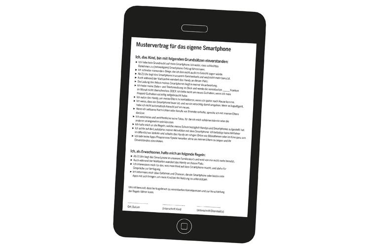 Regeln für Eltern und Kinder sollten vor der Anschaffung des Smartphones im Nutzungsvertrag festgehalten werden.