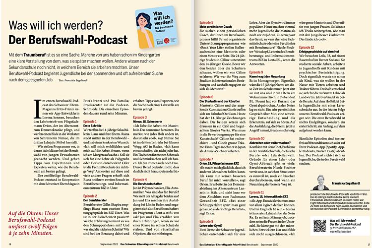Die Übersicht aller Podcast-Beiträge aus dem aktuellen Berufswahl-Heft zum Herunterladen. Lesen Sie den ganzen Artikel Was will ich werden? Der Berufswahl-Podcast.