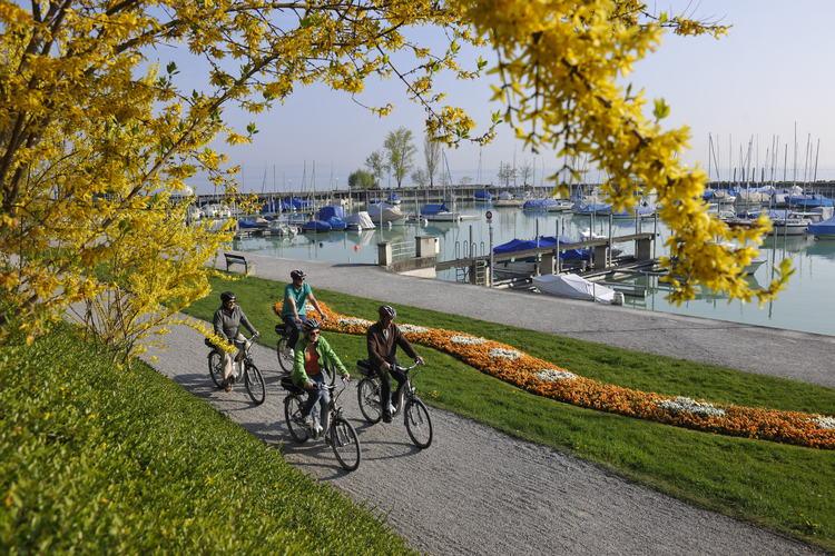 Der Romanshorner Hafen per Velo.Foto: Thurgau Tourismus