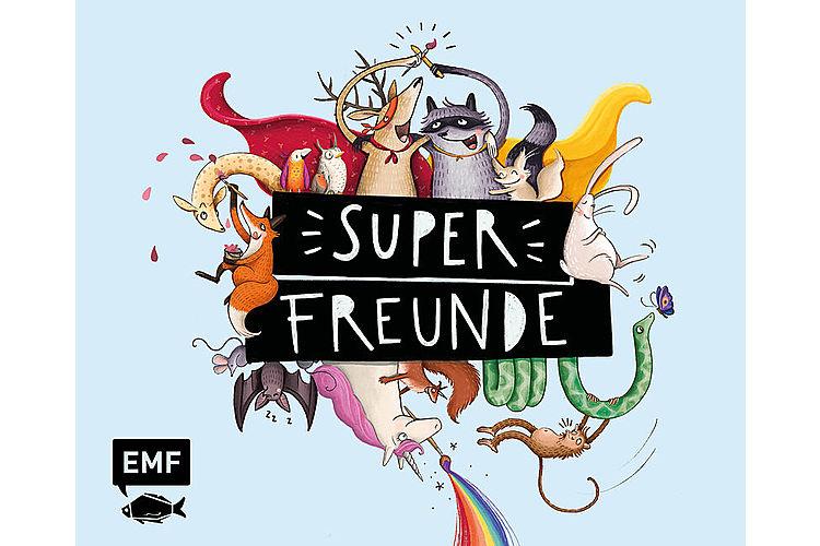 Superfreunde – Das Freundebuch. Mit Illustrationen von Inka Vigh. EMF Edition Michael Fischer, 80 Seiten, ca. 12 Fr. Das etwas andere, sehr tolle Freundebuch für Kindergärtler.