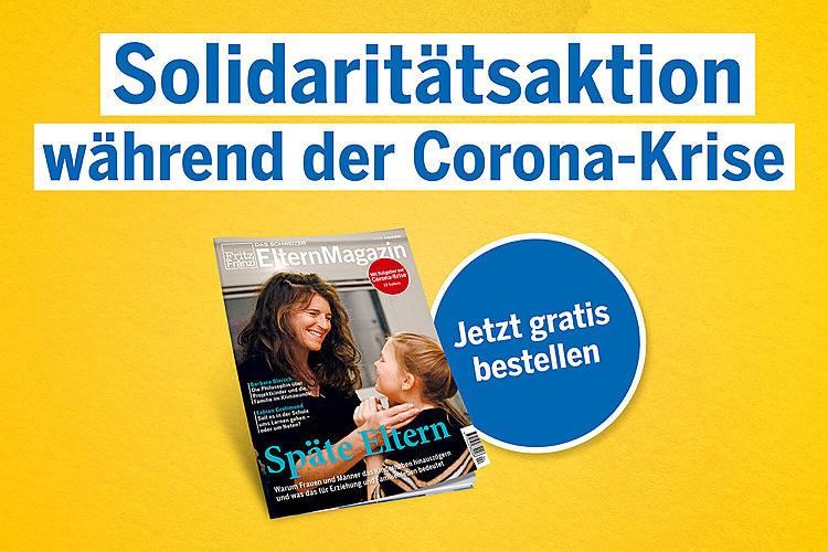 Das ElternMagazin Fritz+Fränzi hat eine Solidaritätsaktion ins Leben gerufen. Wenn Sie kein Fritz+Fränzi-Abo besitzen, erhalten Sie unseren Ratgeber in unregelmässigen Abständen über die Schulen verteilt. Jetzt, wo die Schulen zu sind, schicken wir Ihnen unser Heft kostenlos und unverbindlich nach Hause. Alles, was Sie tun müssen, erfahren Sie hier: www.fritzundfraenzi.ch/gratis