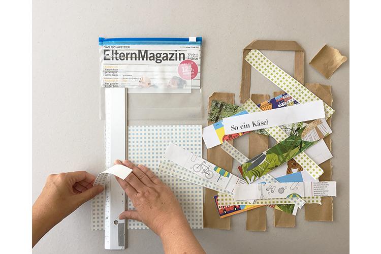 Schritt 1: Falten Sie ein dickeres Stück Papier (A4) zweimal in der Höhe, so dass Sie einen Streifen von zehn Zentimetern erhalten. Diesen legen Sie in den Beutel und schliessen den Zip-Verschluss. Der Umschlag eines Magazins eignet sich gut dafür. Das Papier hilft dabei, dass die Tasche besser beklebt werden kann und bestimmt auch die Höhe vom neuen Stifteetui. Dann suchen Sie interessante Seiten aus den Magazinen heraus und reissen mit Hilfe des Massstabes drei bis vier Zentimeter breite Streifen heraus. Die kleine Tragtasche können Sie seitlich aufschneiden und auch in Streifen reissen.