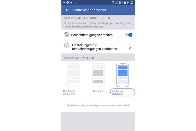 Am Smartphone sieht das Menü so aus, wenn sie auf unserer Facebook-Seite im Menü den Punkt «Abonniert» anwählen. Dann schalten Sie die Benachrichtigungen mit dem Schieber an und wählen «In deinem Newsfeed als Erstes anzeigen» - schon fertig! Jetzt verpassen Sie keinen unserer Posts mehr.