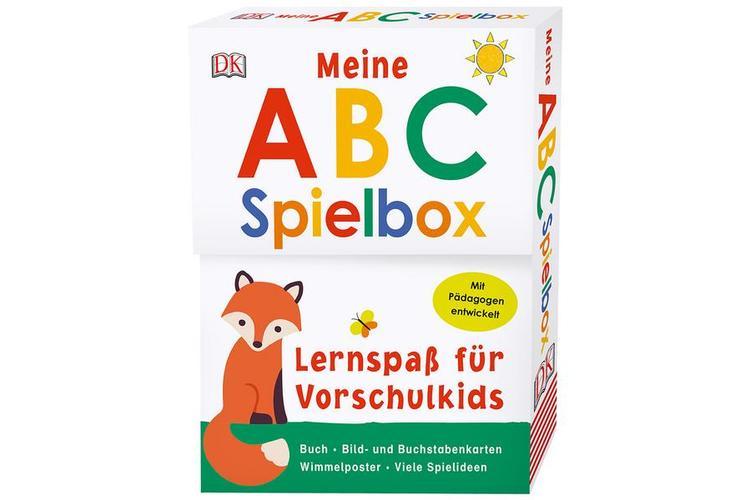 ABC-Spielbox.Interaktives Spiel- und Lernset mit Fühl-ABC, Poster und mehr. Altersempfehlung: 5 bis 7 Jahre.Dorling Kindersley 2018, ca. 10 Fr.